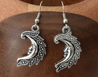 Earrings silver, silver moons clips moons