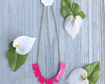 Pink Square Pendant Necklace