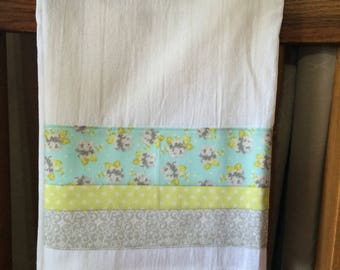 Vintage Looking Fabric Embellished Flour Sack Tea Towel