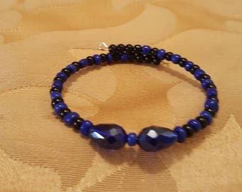 black and blue memory wire wrap bracelet