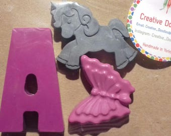 Letter party crayons, personalised wedding favours, alphabet crayons, gifts.