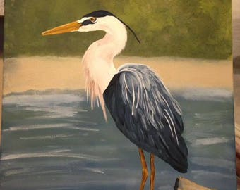 16 x 20 Great Blue Heron Standing