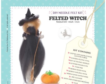 DIY Craft Needle Felt Wool Kit - Felted Witch Unique Gift & Family Time Halloween Special