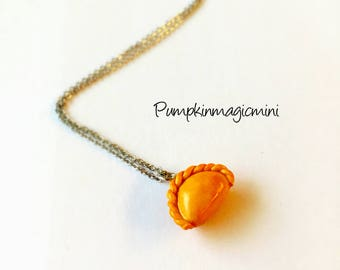Handmade Curry Puff necklace, pendant, polymer clay, food miniatures, food necklace, food jewelry, realistic food, knitting markers