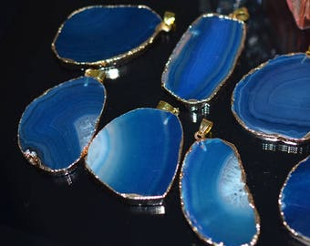 Large Size Natural Blue Agate Slice Pendant Beads with Golden Electroplated Edge - DY0075