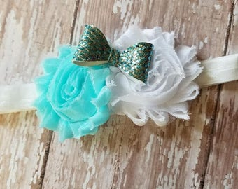 Teal and white headband, flowers and bow headband, newborn headband