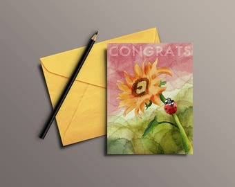 Watercolor ladybug on sunflower Congratulations greeting card
