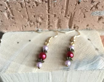 Short Light Pink and Red Beaded Earrings, Brass/Gold Colored Backs