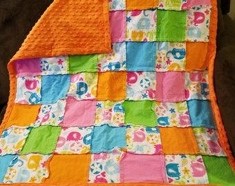 Elephant baby rag quilt