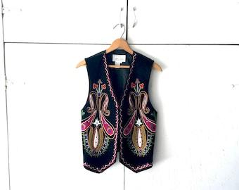 1980's Erez Levy Black Leather Vest with Print | Vintage Leather Vest  | 80s Vest