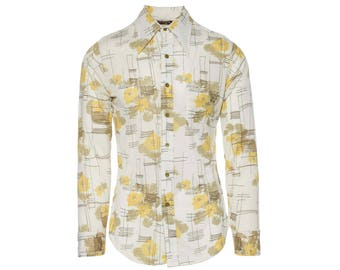 Yellow Floral Button Up - Men's Size S