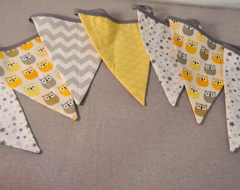 Wreath of pennants, wall decoration, owl, owls, decoration children and baby room