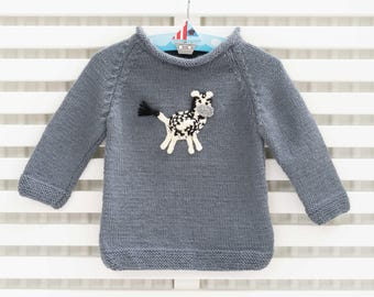 Hand-Knitted Grey Baby Boy Jumper with Zebra