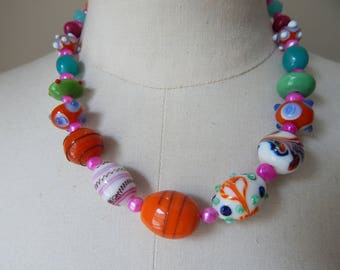Carnival Colours Lampwork Glass Bead Necklace