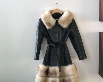Leather shearling drama trench mint