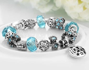 Aqua Blue and Silver Charm Bracelet-Sterling Silver Bracelet