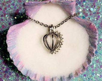 Any Color Akoya Oyster with pearl inside & Love Wish Crystal Charm Cage with Chain