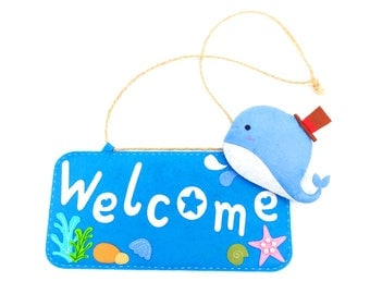 Welcome Sign Openning Board DIY Blue Whale Hanging Door Sign for Kids Room, School, Party 25x12CM / 10x4.7Inches
