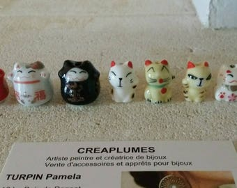 Set of 8 beads Japanese porcelain Lucky Cat beads MANEKI NEKO 17mma20mm