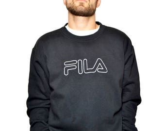 FILA vintage sweatshirt   Black branded 90s sweat   XL