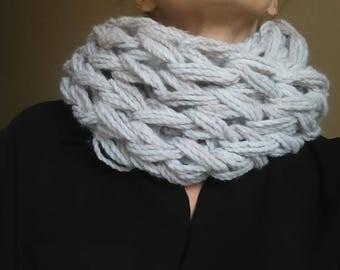 Light gray SNOOD wool mesh - double