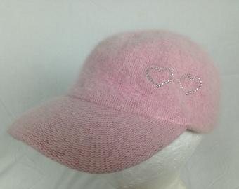 Woven pink heart hat