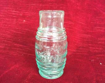 ancien pot en verre soufflé publicitaire moutarde-diaphane, Louit Frères & Co,former mustard-diaphanous advertising blown glass jar, French