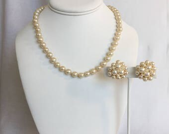"""Faux Pearl Hand Knotted 19"""" Vintage Necklace with Barrel Clasp and Matching 1"""" Faux Pearl Cluster Vintage Clip Earrings"""