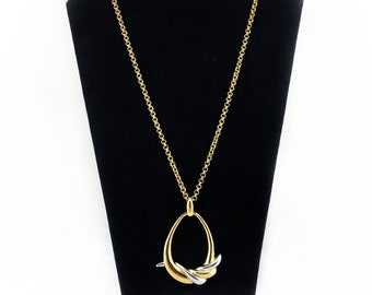 Monet Large Swirl Pendant Necklace, Two Tone, Silver Tone, Gold Tone, Cable Chain Necklace, Vintage, 1980s