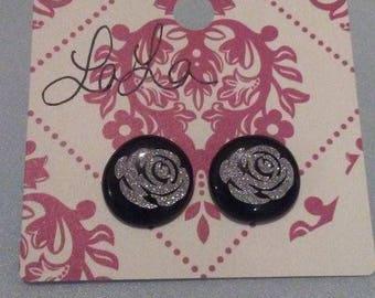 Perler Bead Rose Earrings