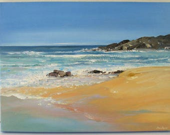 Coast and Beach... seascape, original painting, nature fine art | wedding birthday gift | ready to hang 'home sweet home' or as a present