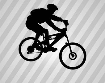 mountain biker Silhouette - Svg Dxf Eps Silhouette Rld RDWorks Pdf Png AI Files Digital Cut Vector File Svg File Cricut Laser Cut