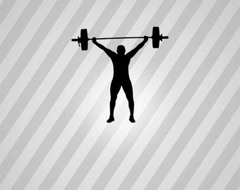 Weight Lifter Silhouette Weight Lifting - Svg Dxf Eps Silhouette Rld Pdf Png AI Files Digital Cut Vector File Svg File Cricut Laser Cut
