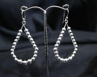 Handcrafted Artisan Jewelry, Silver Earrings, Laos Jewelry, Beaded Teardrop Earrings
