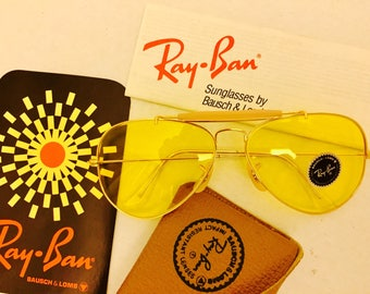 23f53c890159 NEW Vintage Aviator Outdoorsman Ray Ban yellow kalichrome Sunglasses usa BL  bausch lomb NOS 58mm