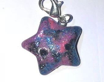 kawaii galaxy polymer clay star charm