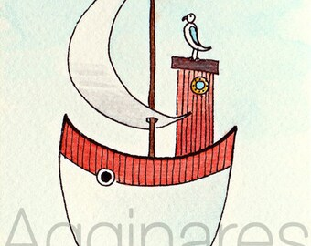 ACEO art PRINT from original watercolor & ink / Fantasy Art Whimsical / Ship