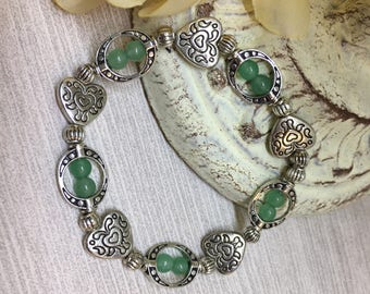 """Beautiful """" Your In My Heart"""" jade color glass beads"""