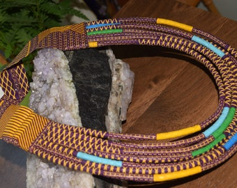 Hand woven cloth fabric rope brown/gold choker.