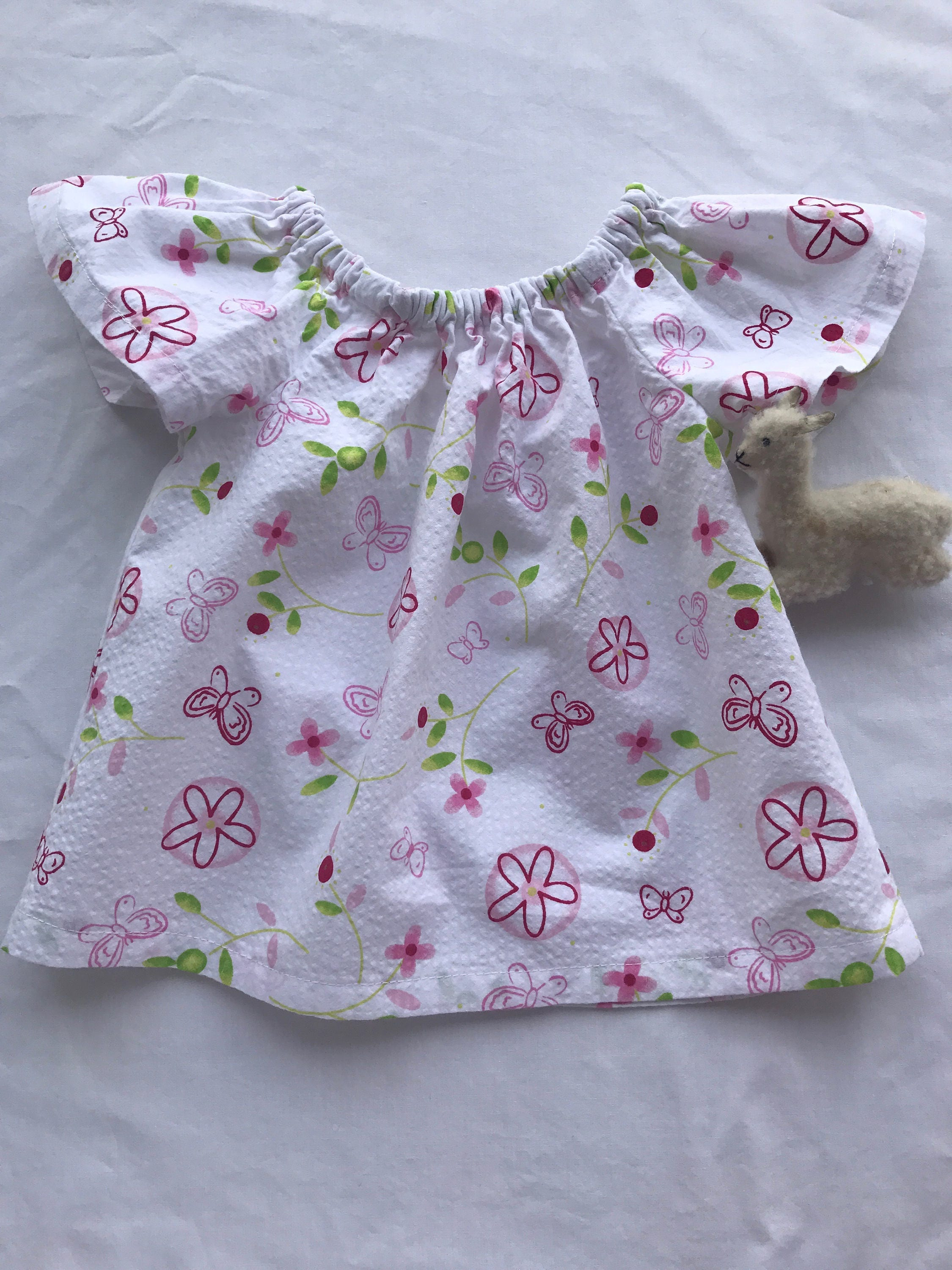 Peasant baby girl dress 3 6 months handmade in beautiful cotton