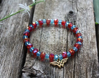 Wonder Woman Charm Stretch Bracelet with Gem Cut Glass Beads