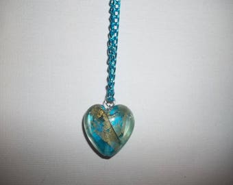 Turquoise necklace and Murano glass heart