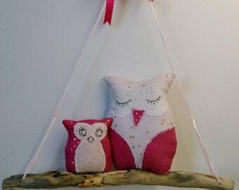 Mobile Driftwood swing owls nursery decor kids birthday gift