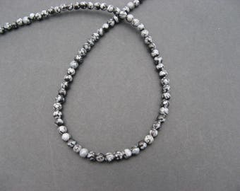 20 beads Obsidian snow 4 mm-