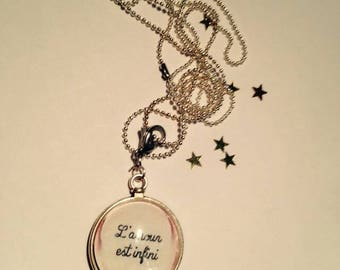 "Pendant and necklace mesh ball cabochon ""Love is infinite"""