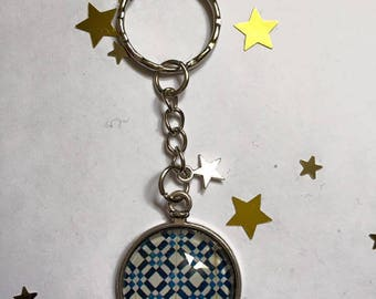 "Keychain Metal free shipping ""Azulejos"" glass Cabochon"
