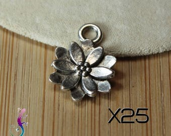 25 charms charms 14x10mm silver lotus flower