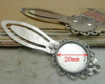 set of 2 bookmarks silver 20 mm cabochon