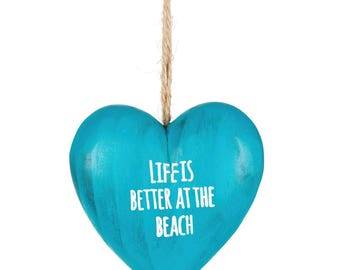 Wooden heart, 3D, beach, sea, ocean