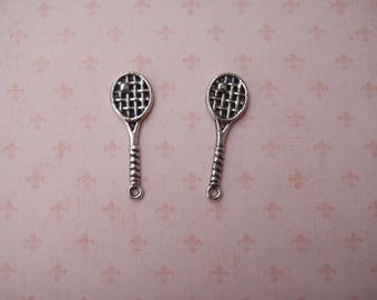 Set of 10 charms tennis racket, antique silver pendant